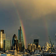 Double Rainbow Over The City Of London Poster