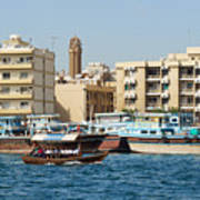 Dubai Creek And Abra Boats Poster