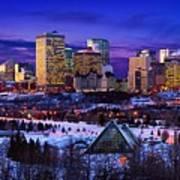 Edmonton Winter Skyline Poster by Corey Hochachka