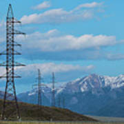 Electric Power Transmission Pylons On Inner Mongolia Grassland At Sunrise  Poster
