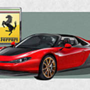 Ferrari Sergio With 3d Badge  Poster by Serge Averbukh