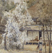 Figure In A Japanese Landscape Poster