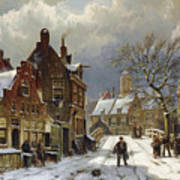 Figures In The Streets Of A Wintry Dutch Town Poster