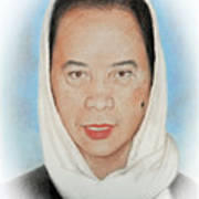 Filipina Woman Wearing A Scarf Poster