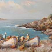 Fishermen With Boats Poster