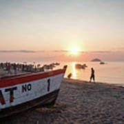 Fishing Boats And The Informal Market - Senga Bay Lake Malawi Poster