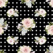 Floral Rose Cluster W Dot Bedding Home Decor Art Poster