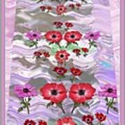 Flower Mania Anemone Fantasy Wave Design Created Of Garden Colors Unique Elegant Decorations Poster