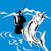 Fly Fisherman Catching Trout Poster