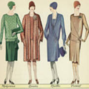 Four Flappers Modelling French Designer Outfits, 1928  Poster