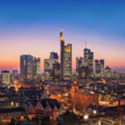 Frankfurt Am Main Cityscape At Night, Aerial View Poster