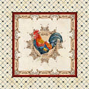 French Country Roosters Quartet Cream 2 Poster