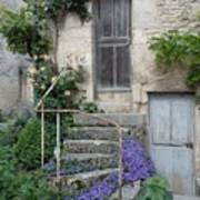 French Staircase With Flowers Poster