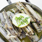 Fresh Razor Shell Seafood Steamed In Garlic Herb Wine Sauce Poster