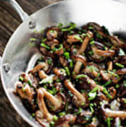Fried Shiitake Mushrooms In Garlic Herb And Olive Oil Snack Poster