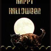 Full Moon Cat Poster
