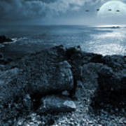 Fullmoon Over The Ocean Poster