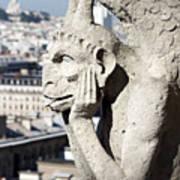 Gargoyle Guarding The Notre Dame Basilica In Paris Poster