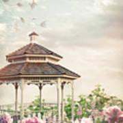 Gazebo In Summer Flower Garden Poster