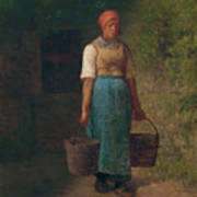 Girl Carrying Water Poster
