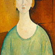 Girl In A Green Blouse Poster
