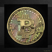 Gold Bitcoin Effigy Over Black Canvas Poster