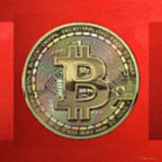 Gold Bitcoin Effigy Over Red Canvas Poster