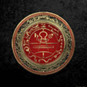 Gold Seal Of Solomon - Lesser Key Of Solomon On Black Velvet  Poster