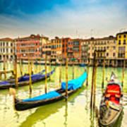 Gondolas In Venice - Italy  Poster