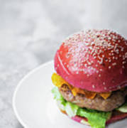 Gourmet Novelty Chicken Burger In Beetroot Bun Poster