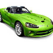 Green 2008 Dodge Viper Srt10 Roadster Poster