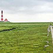 Green Fields And Romantic Lighthouse Poster