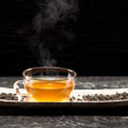 Gunpowder Green Tea In Glass Teapot Poster