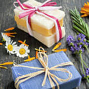 Handmade Soaps With Herbs Poster