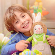 Happy Boy With Easter Bunny Poster