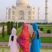 Hindu Women At The Taj Mahal Poster by Bill Bachmann - Printscapes