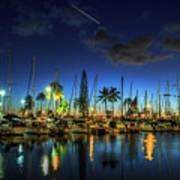 Honolulu Harbor By Night Poster