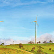 Horizontal Axis Wind Turbines. Panorama Poster
