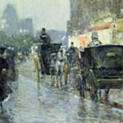 Horse Drawn Cabs At Evening In New York Poster by Childe Hassam