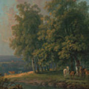Horses And Cattle By A River Poster