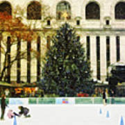 Ice Skating During The Holiday Season Poster