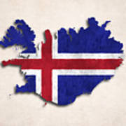 Iceland Map Art With Flag Design Poster