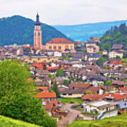 Idyllic Alpine Town Of Kastelruth On Green Hill View Poster