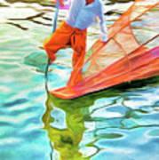 Inle Lake Leg-rower Poster