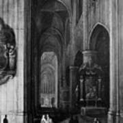 Interior Of A Gothic Church At Night Poster