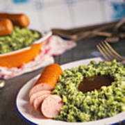 Kale With Smoked Sausage Or Boerenkool Met Worst Poster