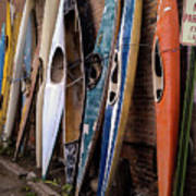 Kayaks Lined Up On Wall Poster
