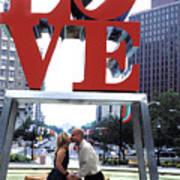 Kiss Under Love Sculpture Poster