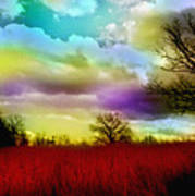 Landscape In Red Poster by Julie Grace