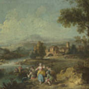Landscape With A Group Of Figures Fishing Poster